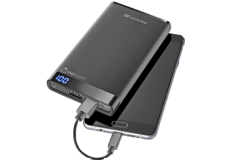 Nooit meer een lege accu met de volgende voordelige powerbank: CELLULAR-LINE Powerbank Freepower Manta 8000MAH Slim Zwart