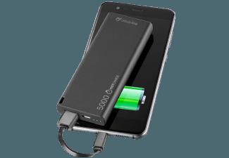 Nooit meer een lege accu met de volgende voordelige powerbank: CELLULAR-LINE Portabel Charger USB Power Slim 5000 mAh Zwart