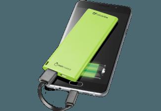 Nooit meer een lege accu met de volgende voordelige powerbank: CELLULAR-LINE Portable Charger USB Free Power Slim 3000mAh Groen