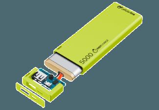 Nooit meer een lege accu met de volgende voordelige powerbank: CELLULAR-LINE Portable Charger USB Free Power Slim 5000mAh Groen